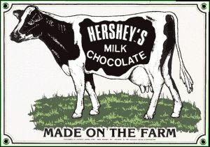 Hershey Cow Porcelain on Steel Sign