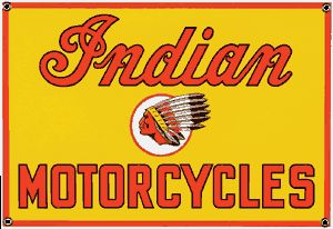 Indian Chief Porcelain on Steel Sign