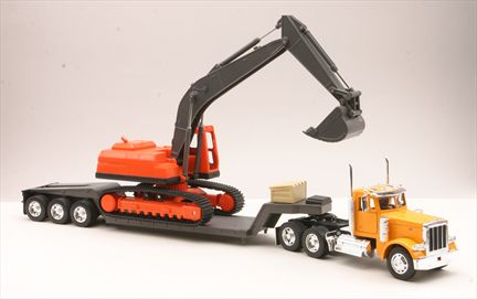 Peterbilt 379 with Flatbed Trailer and Excavator