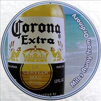 Corona Extra - Miles Away From Ordinary - Round Tin Sign