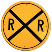 Rail Road Crossing  (Embossed Round Tin Sign)