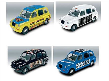 Set of 4 The Beatles Album Cover Diecast Taxis