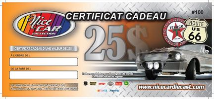 25$ Gift Certificate *Free Shipping*